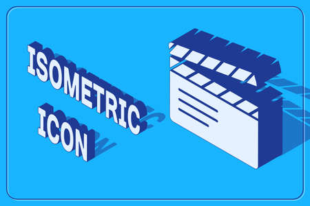 Isometric Movie clapper icon isolated on blue background. Film clapper board. Clapperboard sign. Cinema production or media industry. Vector