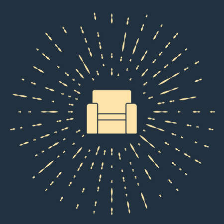 Beige Cinema chair icon isolated on blue background. Abstract circle random dots. Vector