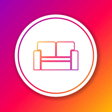 Color line Cinema chair icon isolated on color background. Circle white button. Vector 向量圖像