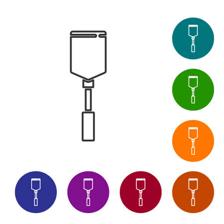 Black line Spatula icon isolated on white background. Kitchen spatula icon. BBQ spatula sign. Barbecue and grill tool. Set icons in color circle buttons. Vector Vettoriali