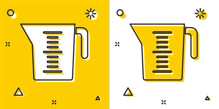 Black Measuring cup to measure dry and liquid food icon isolated on yellow and white background. Plastic graduated beaker with handle. Random dynamic shapes. Vector