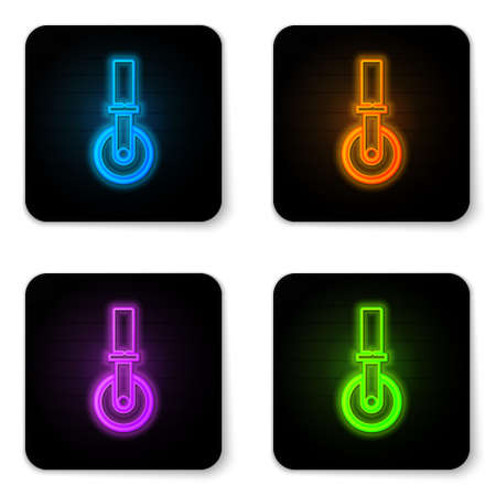 Glowing neon Pizza knife icon isolated on white background. Pizza cutter sign. Steel kitchenware equipment. Black square button. Vector