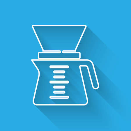 White line barista icon isolated with long shadow. Alternative methods of brewing coffee. Coffee culture. Vector