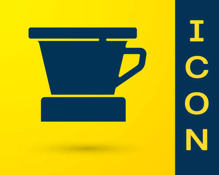 Blue V60 coffee maker icon isolated on yellow background. Vector
