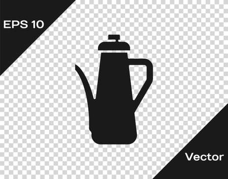 Black Teapot icon isolated on transparent background. Vector
