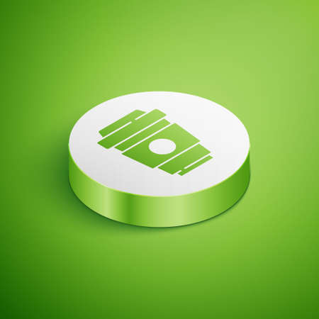 Isometric Coffee cup to go icon isolated on green background. White circle button. Vector