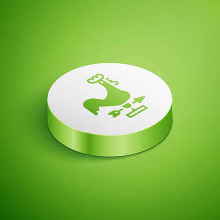 Isometric Rooster weather vane icon isolated on green background. Weathercock sign. Windvane rooster. White circle button. Vector