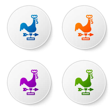 Color Rooster weather vane icon isolated on white background. Weathercock sign. Windvane rooster. Set icons in circle buttons. Vector