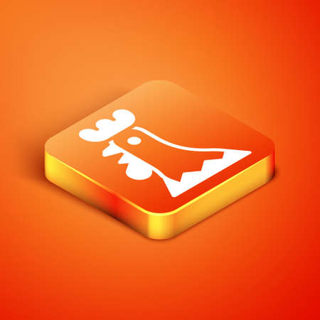 Isometric French rooster icon isolated on orange background. Vector 向量圖像