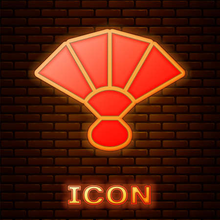 Glowing neon Fan flamenco accessory icon isolated on brick wall background. Vector 向量圖像