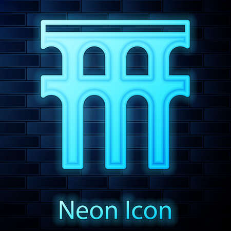 Glowing neon Aqueduct of Segovia, Spain icon isolated on brick wall background. Roman Aqueduct building. National symbol of Spain. Vector