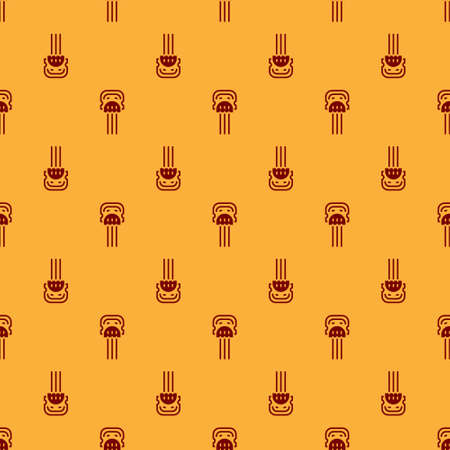 Red Flamenco woman accessories icon isolated seamless pattern on brown background. Peineta. Spanish comb. Vector