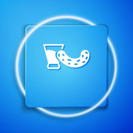 White Glass with vodka and cucumber icon isolated on blue background. Blue square button. Vector 向量圖像