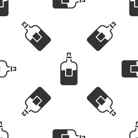 Grey Glass bottle of vodka icon isolated seamless pattern on white background. Vector