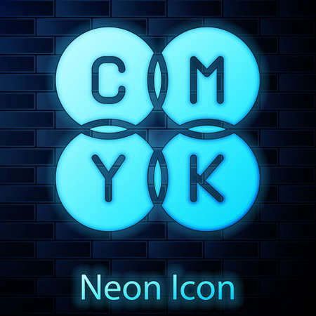 Glowing neon CMYK color mixing icon isolated on brick wall background. Vector 向量圖像