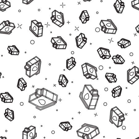 Black line Printer ink cartridge icon isolated seamless pattern on white background. Vector