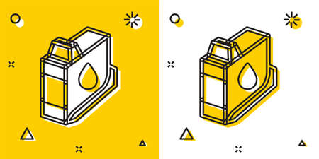Black Printer ink cartridge icon isolated on yellow and white background. Random dynamic shapes. Vector