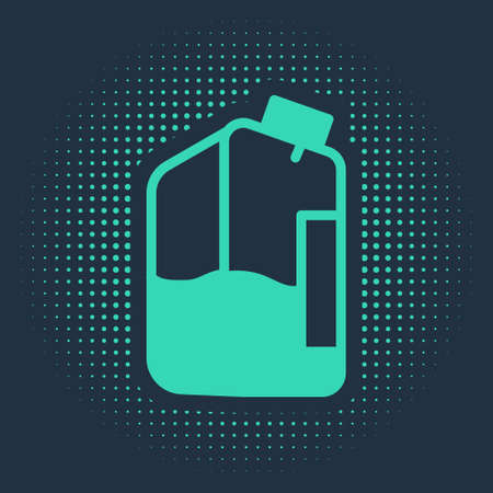 Green Printer ink bottle icon isolated on blue background. Abstract circle random dots. Vector Illustration
