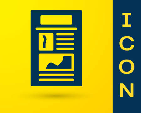 Blue News icon isolated on yellow background. Newspaper sign. Mass media symbol. Vector