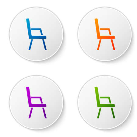 Color Armchair icon isolated on white background. Set icons in circle buttons. Vector