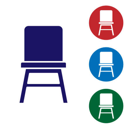 Blue Chair icon isolated on white background. Set icons in color square buttons. Vector