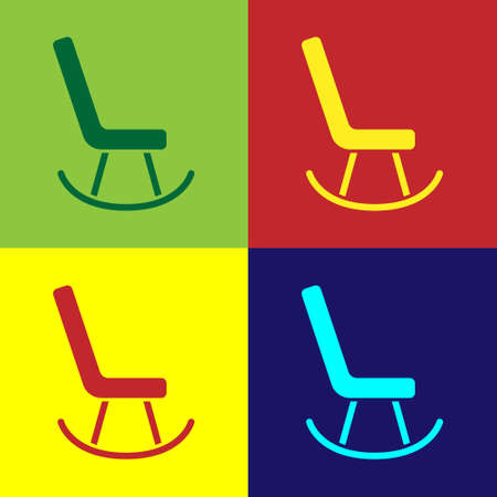 Pop art Armchair icon isolated on color background. Vector