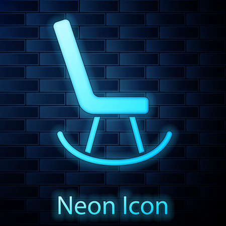 Glowing neon Armchair icon isolated on brick wall background. Vector
