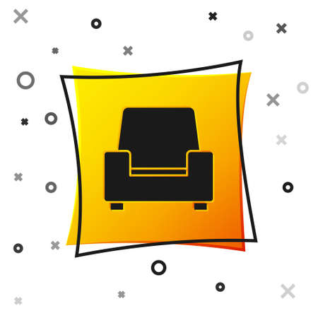 Black Armchair icon isolated on white background. Yellow square button. Vector