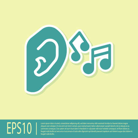 Green Ear listen sound signal icon isolated on yellow background. Ear hearing. Vector