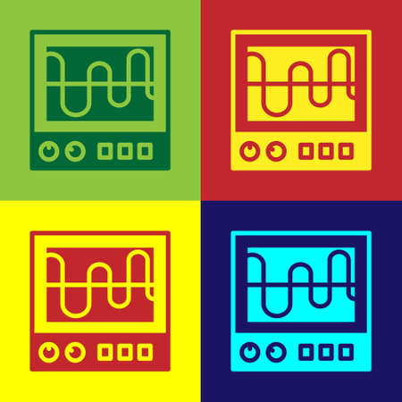 Pop art Oscilloscope measurement signal wave icon isolated on color background. Vector
