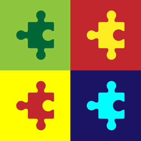 Pop art Piece of puzzle icon isolated on color background. Business, marketing, finance, layout, infographics, internet concept. Vector
