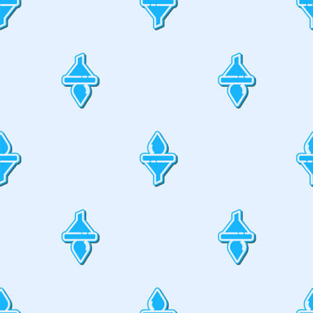 Blue line Funnel or filter and motor oil drop icon isolated seamless pattern on grey background. Vector
