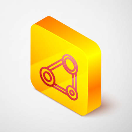 Isometric line Timing belt kit icon isolated on grey background. Yellow square button. Vector