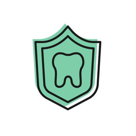 Black line Dental protection icon isolated on white background. Tooth on shield logo. Vector  イラスト・ベクター素材
