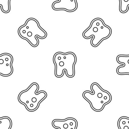 Grey line Tooth with caries icon isolated seamless pattern on white background. Tooth decay. Vector  イラスト・ベクター素材