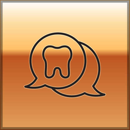 Black line Tooth icon isolated on gold background. Tooth symbol for dentistry clinic or dentist medical center and toothpaste package. Vector