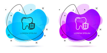 Line Dental protection icon isolated on white background. Tooth on shield logo. Abstract banner with liquid shapes. Vector