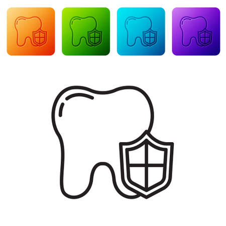 Black line Dental protection icon isolated on white background. Tooth on shield . Set icons in color square buttons. Vector