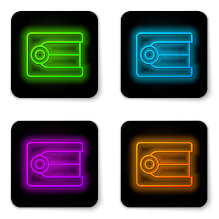 Glowing neon line Dentures model icon isolated on white background. Dental concept. Black square button. Vector