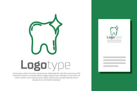 Green line Tooth whitening concept icon isolated on white background. Tooth symbol for dentistry clinic or dentist medical center.