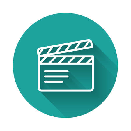 White line Movie clapper icon isolated with long shadow. Film clapper board. Clapperboard sign. Cinema production or media industry. Green circle button. Vector
