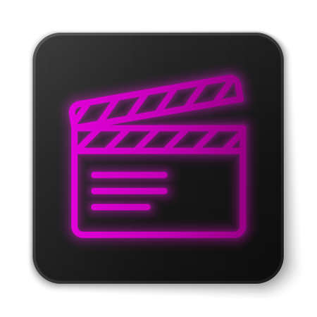 Glowing neon line Movie clapper icon isolated on white background. Film clapper board. Clapperboard sign. Cinema production or media industry. Black square button. Vector