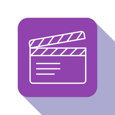 White line Movie clapper icon isolated on white background. Film clapper board. Clapperboard sign. Cinema production or media industry. Purple square button. Vector