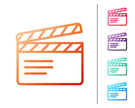Red line Movie clapper icon isolated on white background. Film clapper board. Clapperboard sign. Cinema production or media industry. Set color icons. Vector