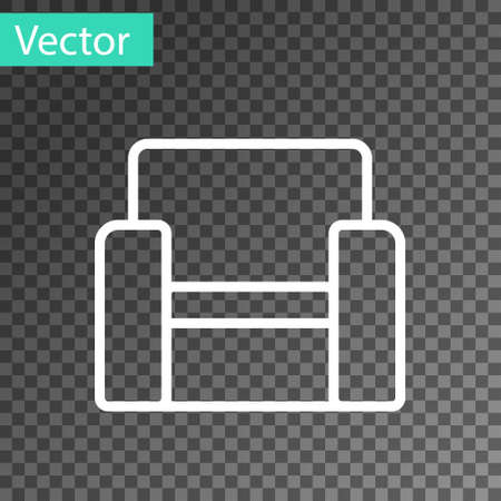 White line Cinema chair icon isolated on transparent background. Vector