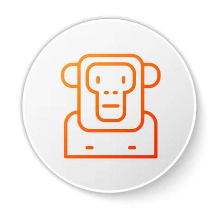 Orange line Monkey icon isolated on white background. White circle button. Vector