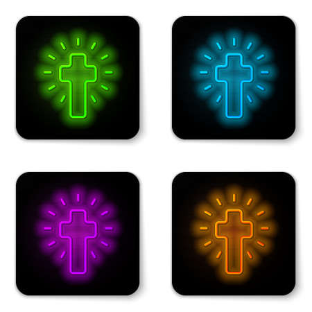 Glowing neon line Christian cross icon isolated on white background. Church cross. Black square button. Vector