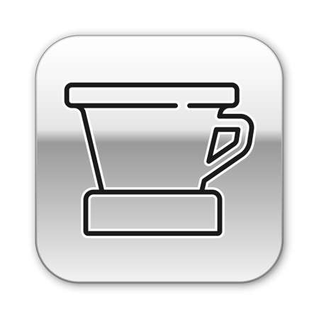 Black line V60 coffee maker icon isolated on white background. Silver square button. Vector