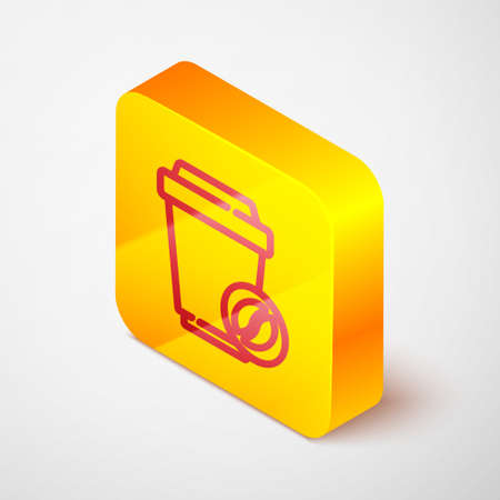 Isometric line Coffee cup to go icon isolated on grey background. Yellow square button. Vector