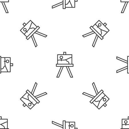 Grey line Wood easel or painting art boards icon isolated seamless pattern on white background. Vector